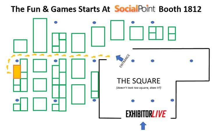 Follow the orange shoes to the SocialPoint booth at ExhibitorLive