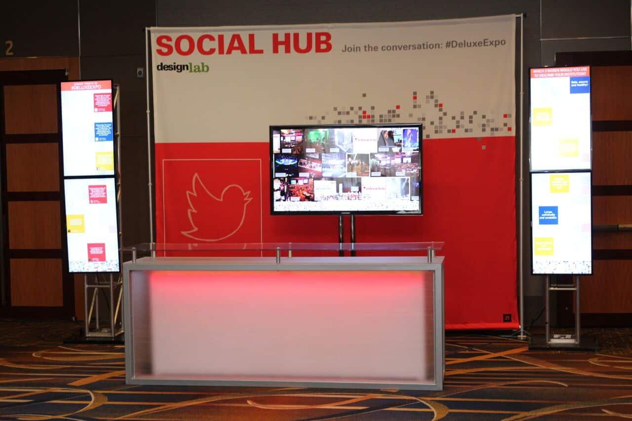 Multiple social media walls in a 10 foot display