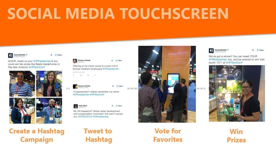 social media touchscreen and Twitter voting contest in your trade show displays