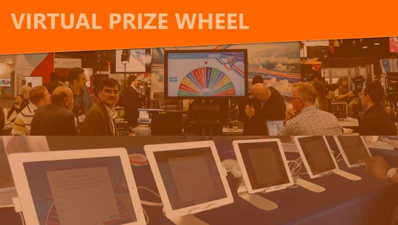Virtual Prize Wheel can be big or small in your trade show exhibit