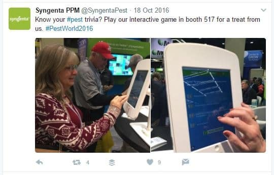 Tweet sent the first day of the trade show from their booth with attendee playing the game