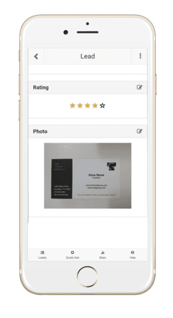 Lead Manager app 5 star rating business card photo
