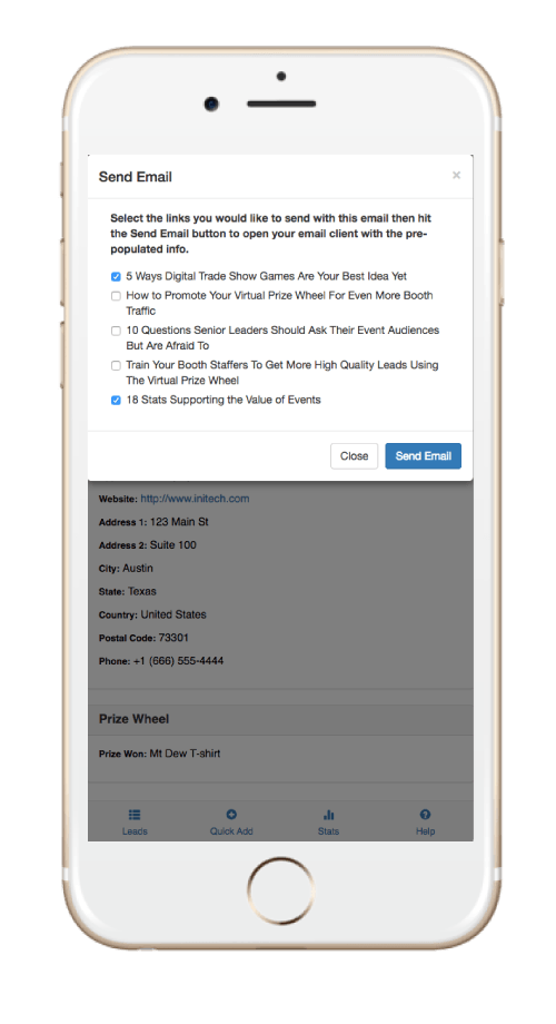SocialPoint Lead Capture App Send Digital Documents