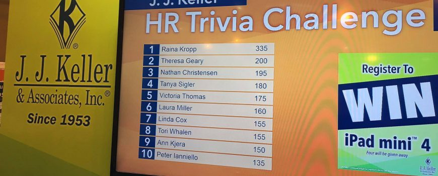 J. J. Keller nearly doubled their lead count goal with Challenge Bar Trivia game in their 20 x 20 SHRM 2017 booth