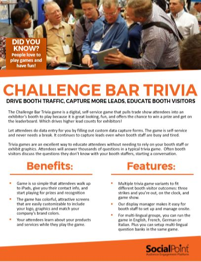 Challenge Bar Trivia - interactive trade show game
