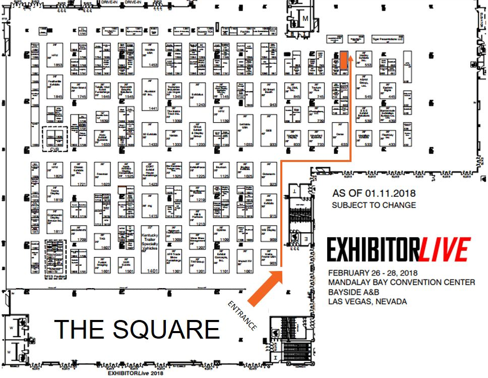 Map to SocialPoint booth number 653 at ExhibitorLive 2018