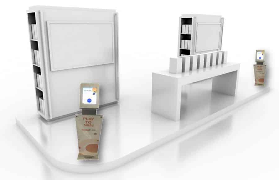 20 foot inline trade show booth with 2 Digital Fishbowl kiosks for overflow lead capture