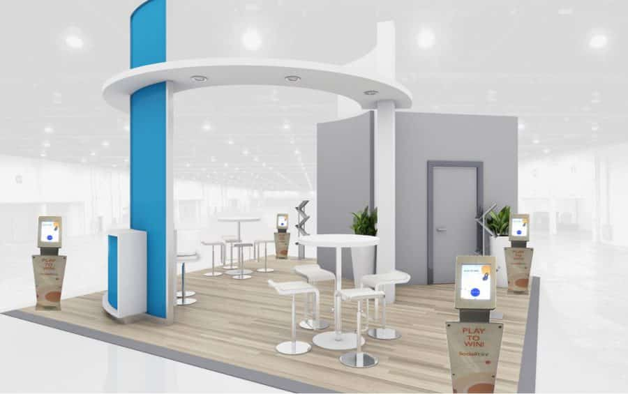 Island trade show exhibit with 4 digital fishbowl kiosks for overflow lead capture