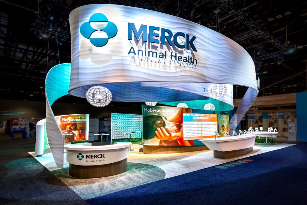 Merck Animal Health booth designed by 3D Exhibits with SocialPoint trivia game