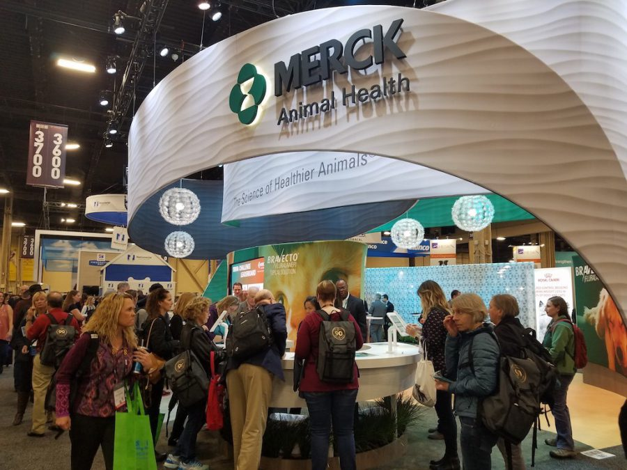 Trivia game crowded trade show booth Merck Animal Health