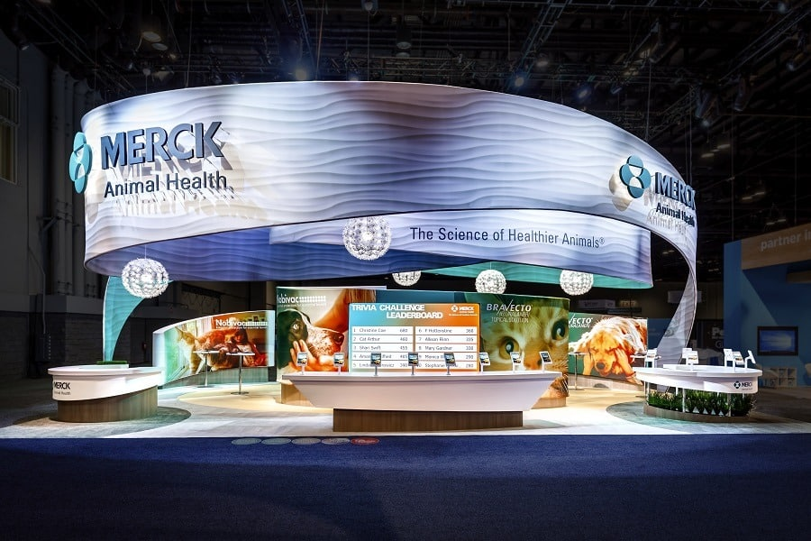 trade show trivia game integrated into high end exhibit design