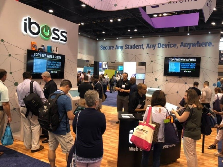 Tech trade show exhibitor interactive trade show game - iBoss at Black Hat 2018