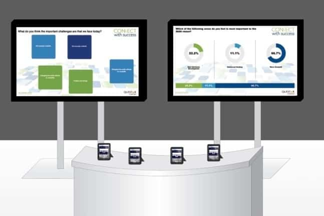 DFB kiosks and trade show booth activity results screens