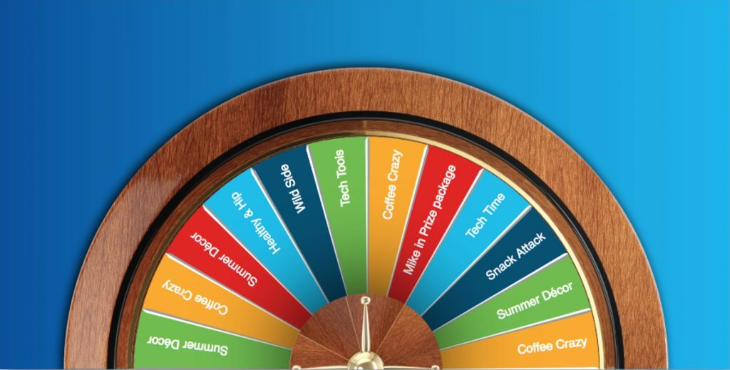 3 dimensional virtual prize wheel with wood texture