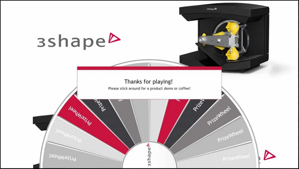 3shape Virtual Prize Wheel trade show game