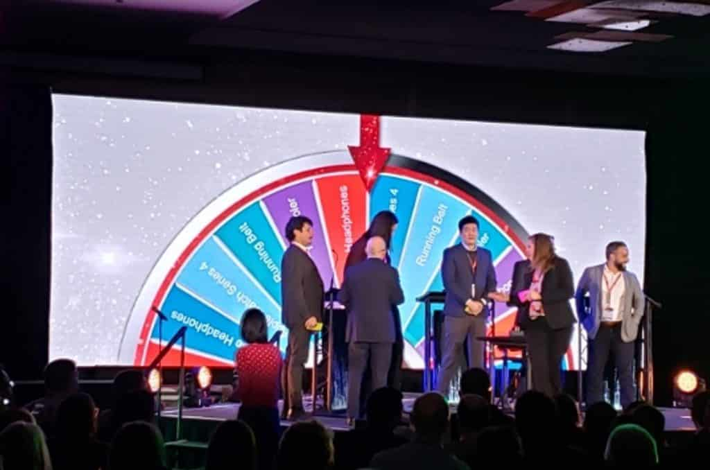 On stage Virtual Prize Wheel contest awarding