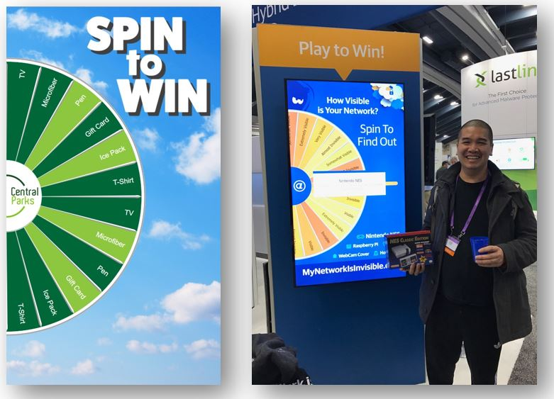 Virtual Prize Wheel - 2 vertical format examples interactive trade show games