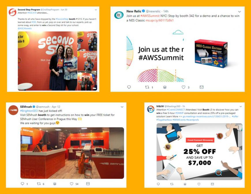trade show game prize idea example tweets