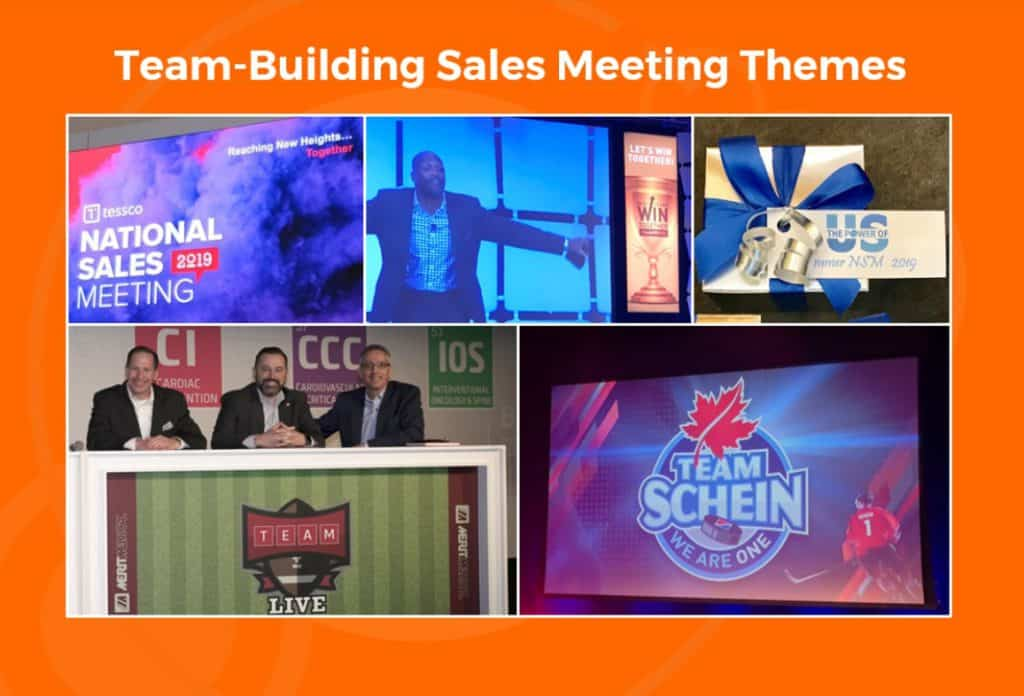 team building sales meeting themes ideas